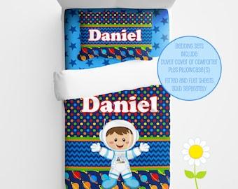 Personalized Astronaut Bedding for Kids - Space Duvet or Comforter for Boys - Personalized Duvet Set for Kids - Custom Kids' Comforter