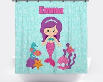Mermaid Personalized Shower Curtain   Mermaid Shower Curtain For Girls    Custom Mermaid Bath Decor