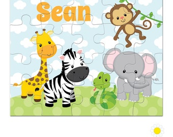 Personalized Puzzle for Kids - Safari Animal Puzzle with Name - Jungle Custom Name Jigsaw - Personalized Safari Puzzle - Boy Birthday Gift