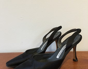 Manolo Blahnik black satin slingback shoes size 35.5 5.5