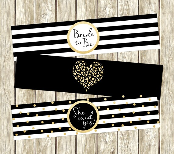 Black White And Gold Water Bottle Labels Bridal Shower Water
