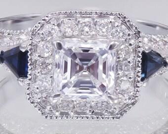 18k White Gold Asscher Cut Diamond Engagement Deco Halo Ring 1.75ctw G-VS2 GIA