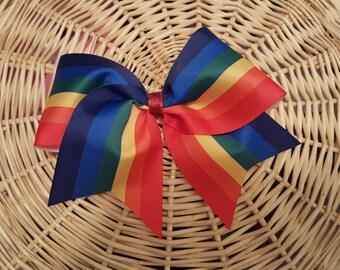 Beautiful Rainbow Cheer Bow