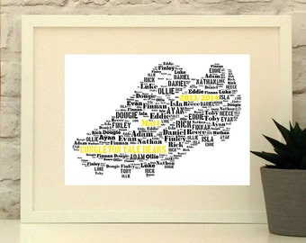 Personalised Football Boot - Soccer Boot - Unframed Print - Custom Print - Soccer Coach - Football Coach - Coach Gift - Football Gift - Team