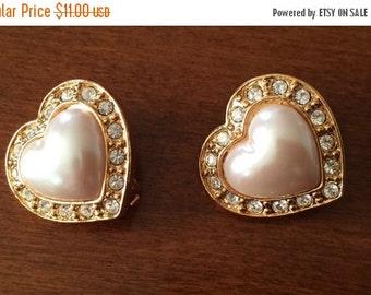 SALE Avon Heart Earrings Pearl Rhinestone 1980s Clip Earrings Vintage Estate Item