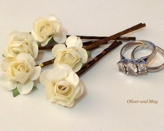 Ivory Rose Hair Pins Creamy White Paper Flower Bobby Pins Rustic Bridal Hair Accessories Ethereal Bride  Set of 5
