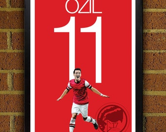 Mesut Özil 11 Arsenal Football -  Soccer Poster, print, art, home decor, wall decor, german poster, world cup, arsenal fc