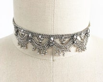 Silver ball draped chain statement choker necklace, inspired by india