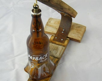 Payback Porter  Hand blown Beer Bottle and Barrel Lamp