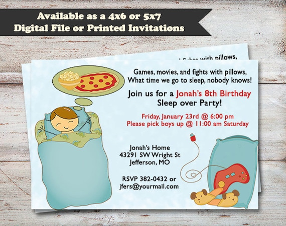 Sleepover Birthday Party Slumber Party Invitations Overnight – Sleepover Birthday Party Invitations