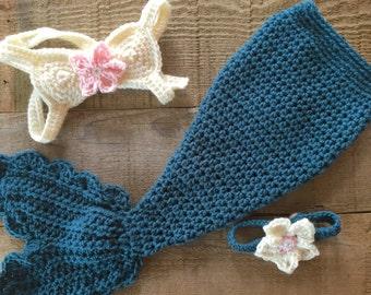 Crocheted mermaid outfit, mermaid costume, baby photo prop, baby gift, baby mermaid