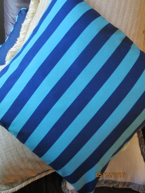 """Reversible cabana striped throw pillow in turquoise and navy blue, 18x18"""""""