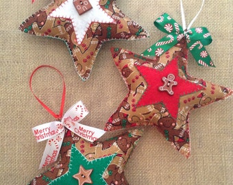 Gingerbread Xmas Stars / Stars Christmas Ornaments / Set of 3 / Gingerbread Christmas Tree Ornaments / Handmade and Design in Gingerbread