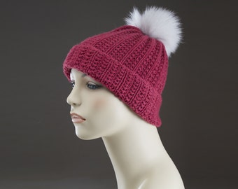 Dark Berry- White fox fur pom pom - Pure Cashmere Hand Knit Ribbed Hat -  One of a Kind - No mass production - Slouchy