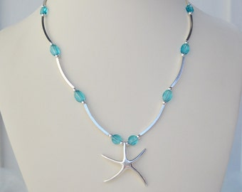 Turquoise Starfish Beach Statement Necklace/Swarovski Crystals/Sterling Silver - Capri - Unique Gift Jewelry