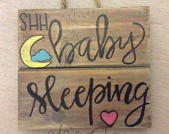 Rustic hand painted Wooden Sign Baby sleeping nursery room decor gift shabby chic
