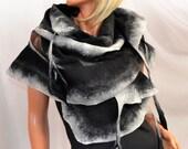 Scarf silk for dresses, mourning scarf, black, gray, calla, nuno felted shawl
