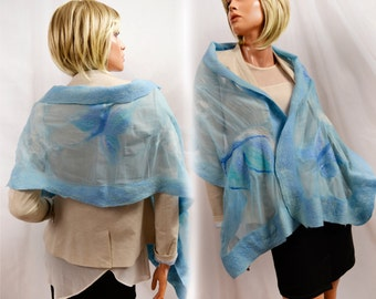 Nuno felted scarf, light blue, hand-made, silk and merino wool