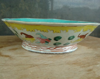 Antique Chinese Export Hand Painted Famille Rose Porcelain Bowl With Turquoise Center And Koi Fish 19th Century