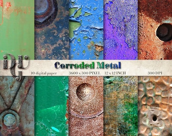 """Rusty Digital paper """"CORRODED METAL"""" Decorated Metal digital paper, pattern  - Grunge metal paper. Grungy backgrounds # 100 Corroded Metal"""