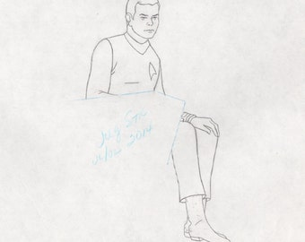 Star Trek Filmation Captain Kirk original production cell drawing Matted COA 2*