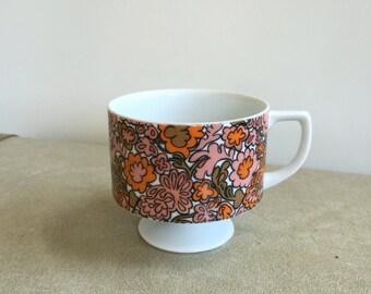 Vintage Mod Sixties Flower Power Footed Mug