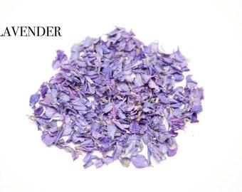 Lavender wedding confetti petals 1 litre (Lavender delphimiums biodegrable)