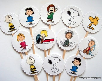 Peanuts Gang, Cupcake Toppers, Birthday Party, Baby Shower, Cupcake Picks, Charlie Brown, Snoopy, Set of 12