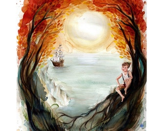 "Peter Pan 8x10"" Fine Art Quality Print on Lustre Paper."