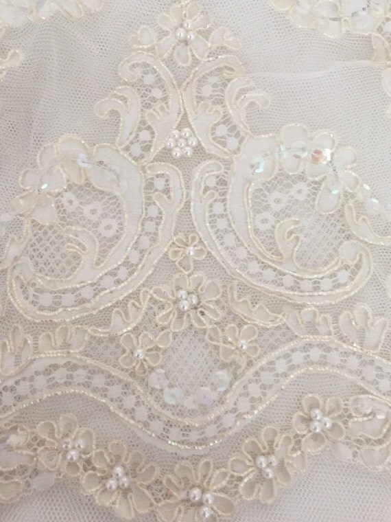 Lace Swatch , Pale Gold and Ivory lace, Ornate Gold and Pearl SLace, Gold Alencon Lace, Ivory Pearl Lace- FOREVER US Veil