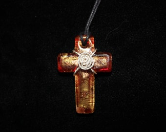 Red/Gold Glass Cross Pendant with Silver wire wrapping