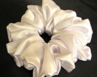 White Satin Scrunchie for the Bride