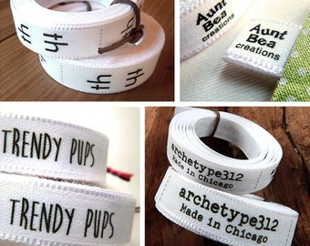 """100 Custom Clothing Labels 2"""" by 0.5 """" · Cotton Fabric Labels · Black Ink / Only Text ·  PROMO !"""