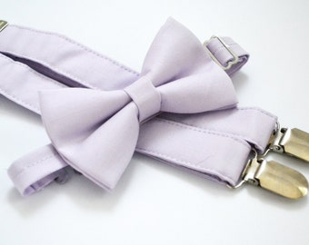 Light purple/Lavender bow tie and Suspender Set for baby/toddler/teen/adult/Men
