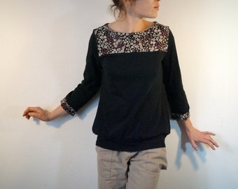 end t-shirt in hemp and organic cotton black and cotton Japanese. 3/4 sleeves.