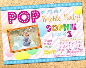 Bubbles - Birthday Party Photo Invitation - Customizable - Printable - DIY