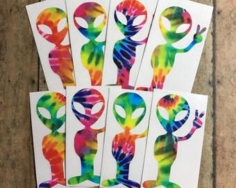 alien decal / alien / peace / peace sign / tye dye / ufo / decal