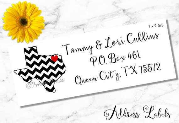Texas Address Labels, State Address Labels, Chevron Texas, Personalized Stickers, Personalized Labels