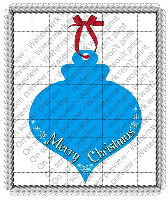 Merry Christmas Ornament - Edible Cake and Cupcake Topper For Birthday's and Parties! - D21056