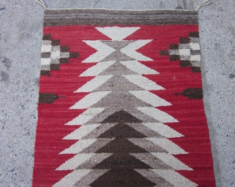 Vintage Navajo Native American Indian Rug , 3.3 x 1.7