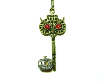 "Steampunk Key, jewelry necklace ""Owl Key Time"", skeleton steam punk antique gold pendant, red crystal eyes, old clockwork, free shipping"