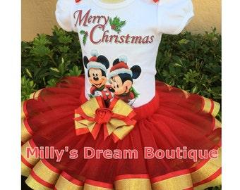 Mickey and Minnie Christmas  Ribbon trimmed tutu