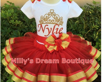 Red and Gold Pegeant party tutu skirt