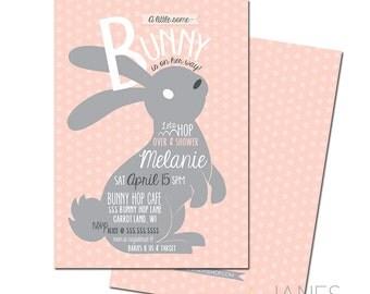 Bunny Birthday Invitation | Bunny Shower Invitation | Bunny 1st Birthday Invitation | Bunny Invite - 5X7 with *bonus reverse side*