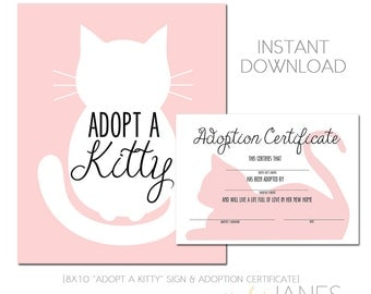 Kitty Adoption | Kitty Cat Party Printable | Kitty Cat Birthday | Adopt A Kitty  - Instant Download of digital files