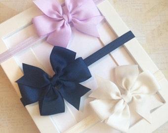 Set of three lavender,navy and cream bow headbands,baby headbands,toddler headbands,newborn headbands,girls headbands,baby bows,bows