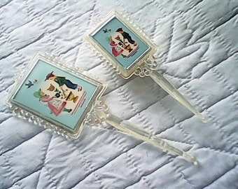 1940s Girls Play BRUSH and MIRROR Set Celluloid