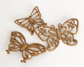 Vintage Brown Woodgrain Cellulose Butterflies Wall Hanging, Set of Three Wall Art