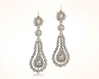 Rare Antique Georgian Rose Cut Silver and Gold Earrings