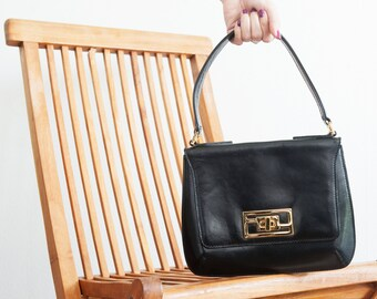 Fendi 1960s vintage bag // dark brown leather bag // shoulder bag